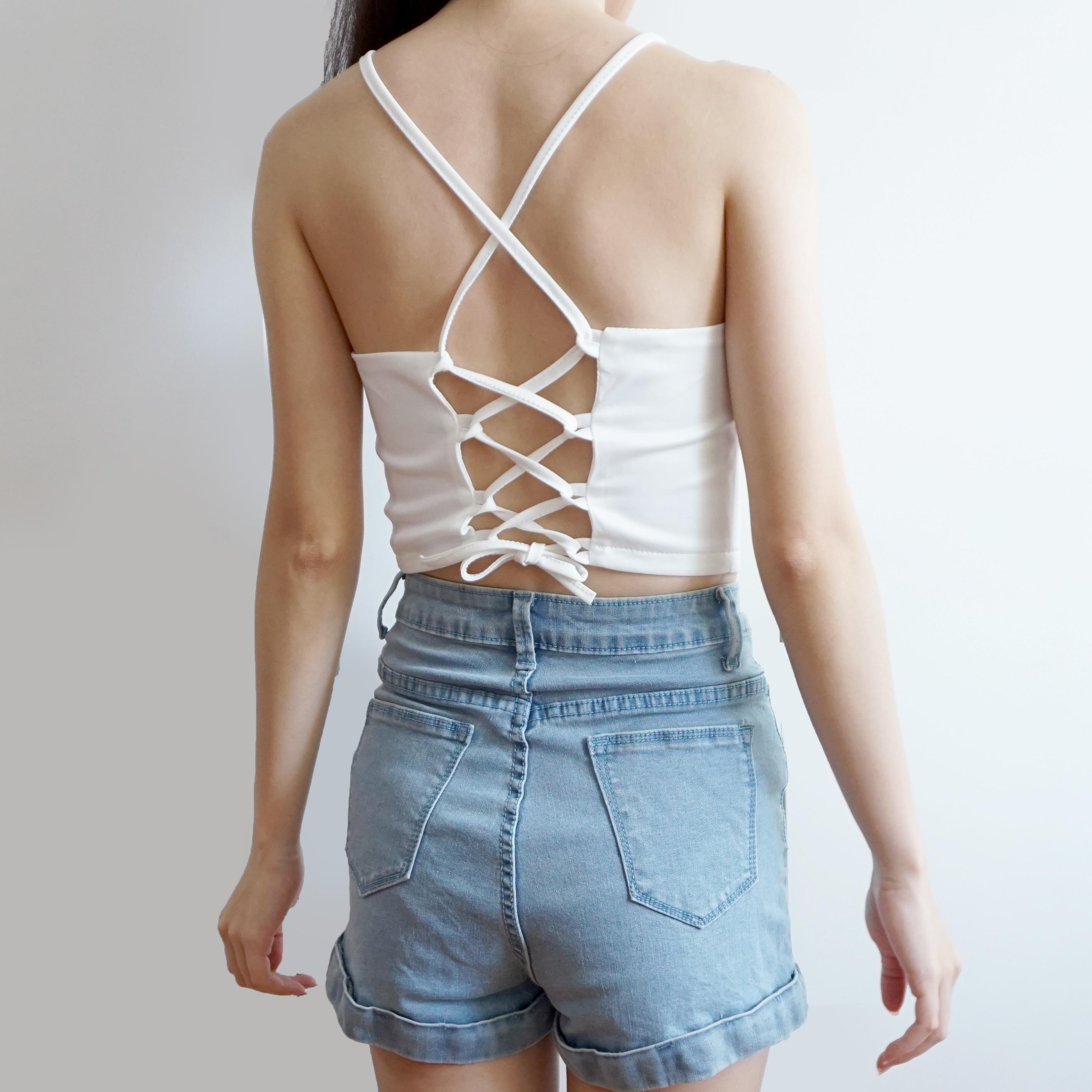 Crochet Cross Back Halter Crop Top 2 Colors Megoosta Fashion