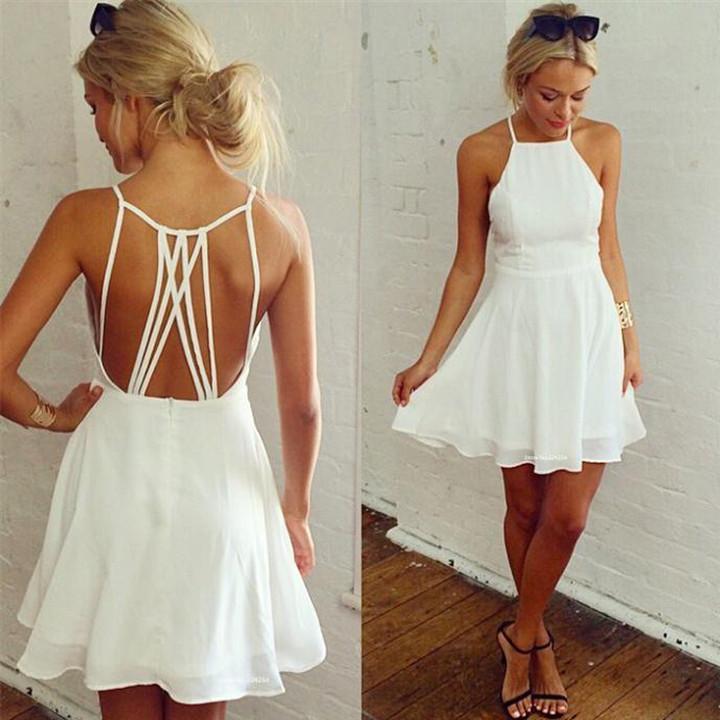 18e4e523bfb White Short Simple Prom Dress Cheap Party Dress, FSS795 ...