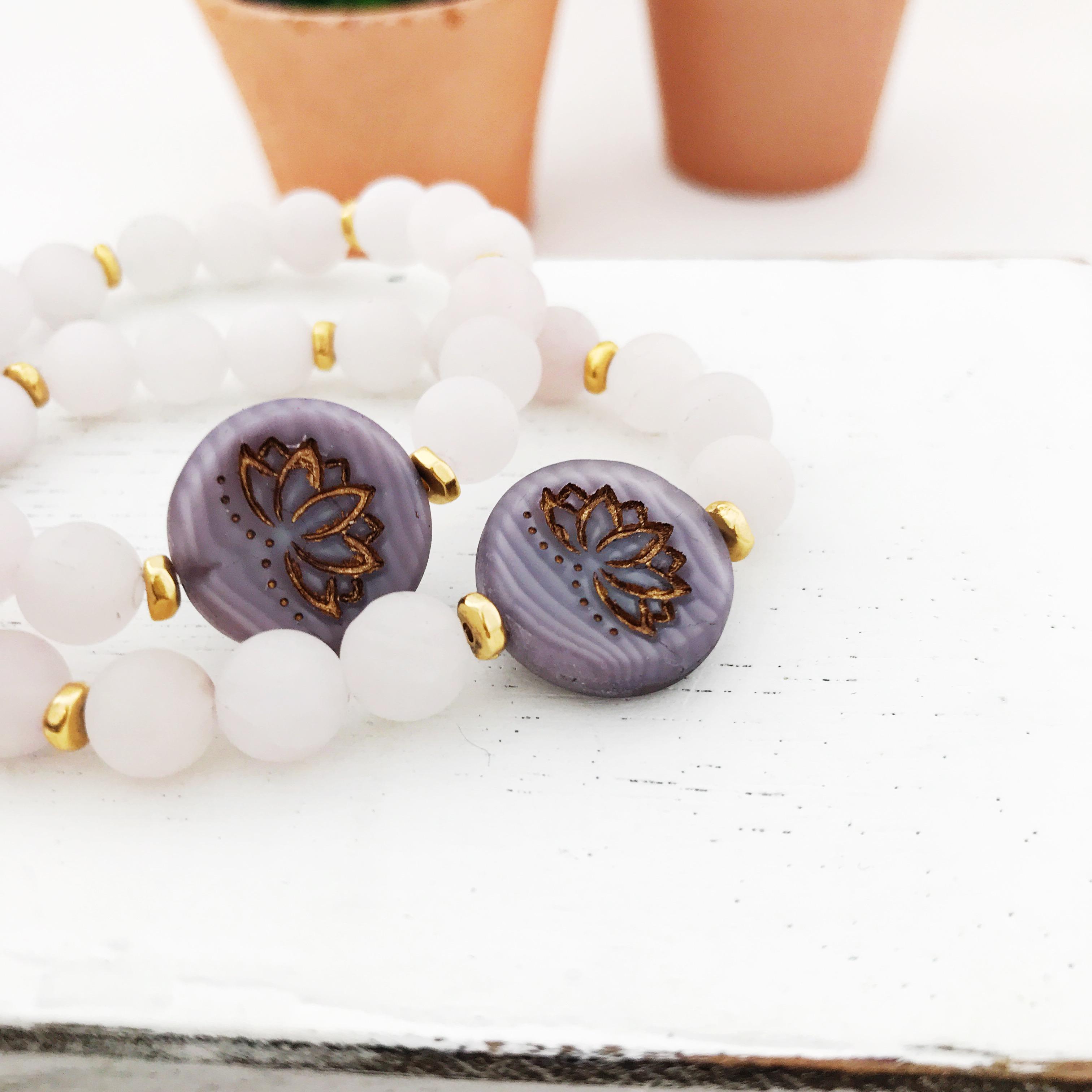 Rose Quartz Matte Gemstones Lotus Flower Healing Stretch Bracelet Meditation Yoga From The Onyx Feather