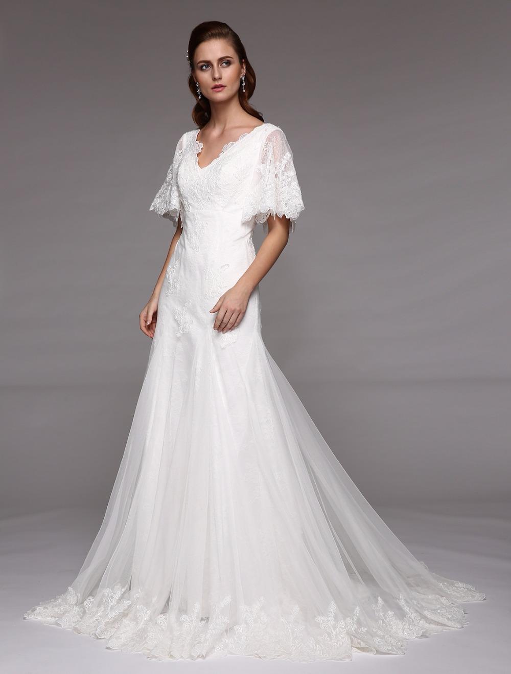 Fatima Wedding Dress. A Line, V neck line, Butterfly Dekor