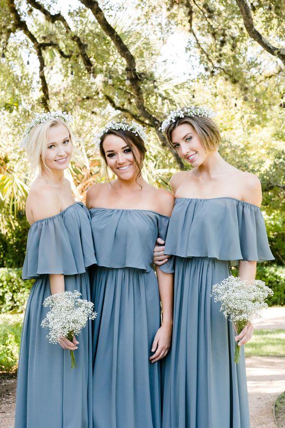 686573fab6a 2018 Boho Off the Shoulder Bridesmaid Dress