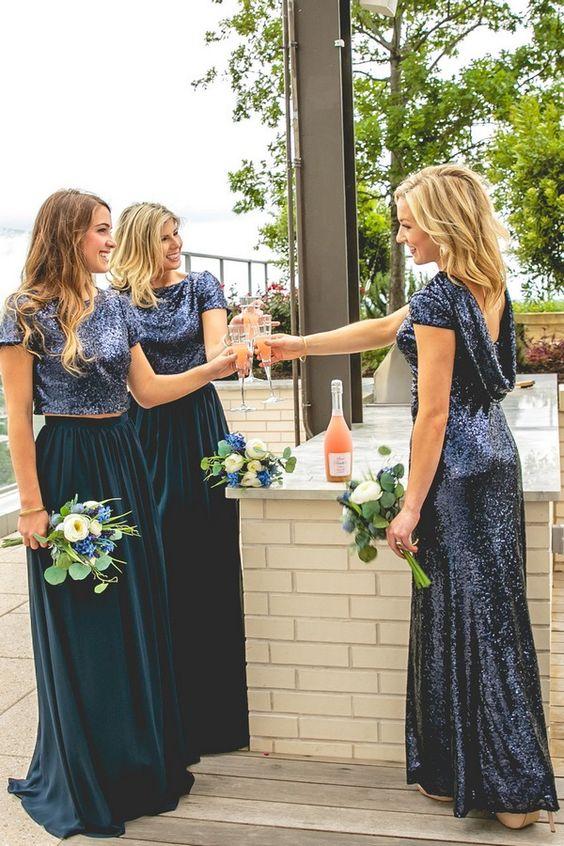 b25b3b90e8 2018 Dark Navy Sequin Bridesmaid Dress