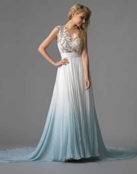 64145ca8b7 2019 Dye Colorful Blue Wedding Dress, Long Wedding Dresses, Crew Neck Lace  Bodice Beach
