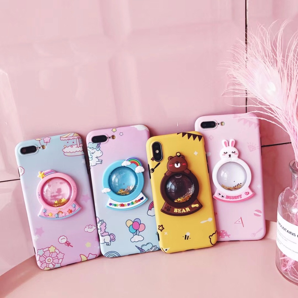 innovative design fa181 8eb4b 3D Unicorn Wishing Bottle Phone Case for iPhone X 7 8 6 6s Plus Soft  Cartoon Bear Phone Shell Bag Back Case Cover