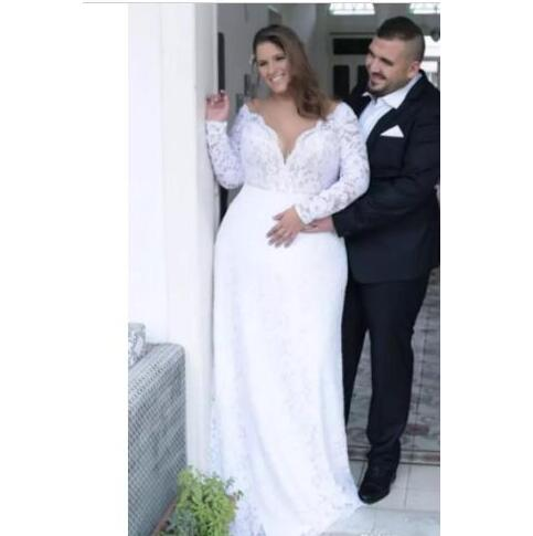 Plus Size Wedding Dresses long sleeves full lace bohemian beach bridal  Gowns Cheap Vestido De Novia from MissZhu Bridal