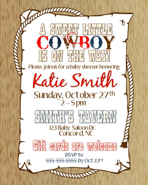 Cowboy Baby Shower Invitation On Storenvy