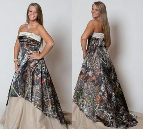 Vintage Plus Size Wedding Dresses 2019 Strapless Camo Forest Wedding ...