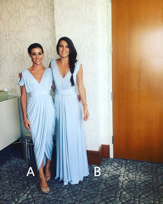 Mismatched bridesmaid dresses,pale blue jersey bridesmaid dresses ...