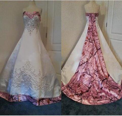 a3b0fa8a3bfcc Designer Pink Camo Wedding Dresses 2018 Real Images Custom Made New Bridal  Gowns Sweetheart Court Train