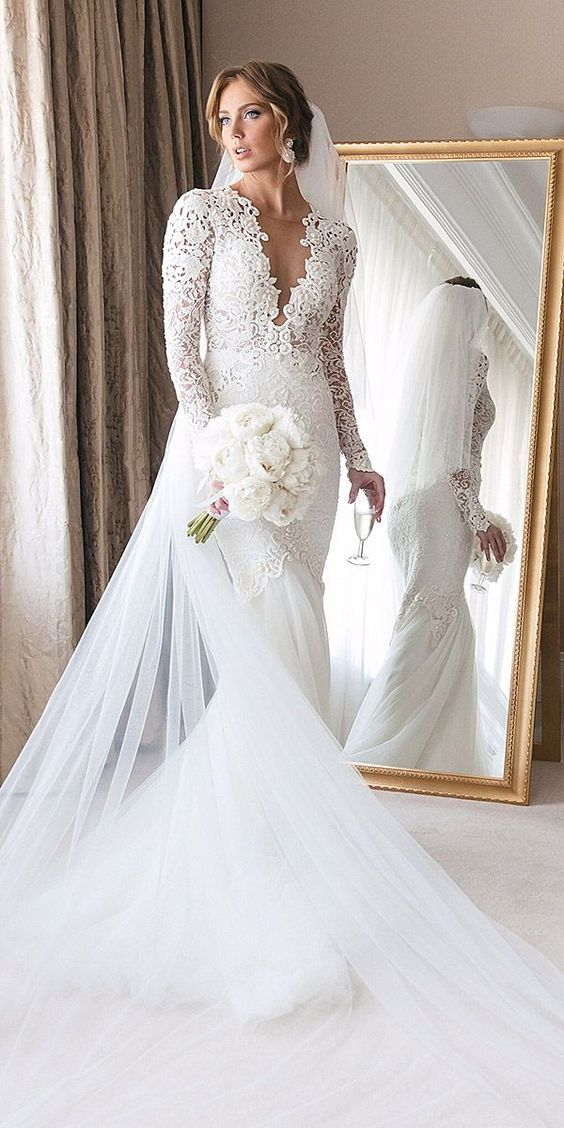 Mermaid Sheer Long Sleeve Lace Wedding Dresses Sheer Neckline Bridal Gowns