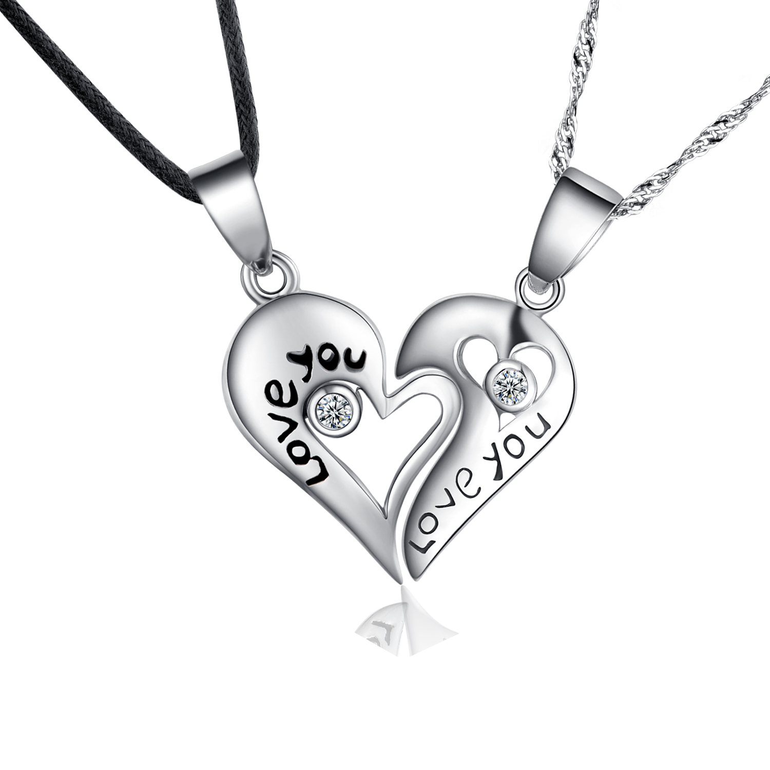 925 Sterling Couple Pendant Lovers Necklaces With Pair Split Heart ...