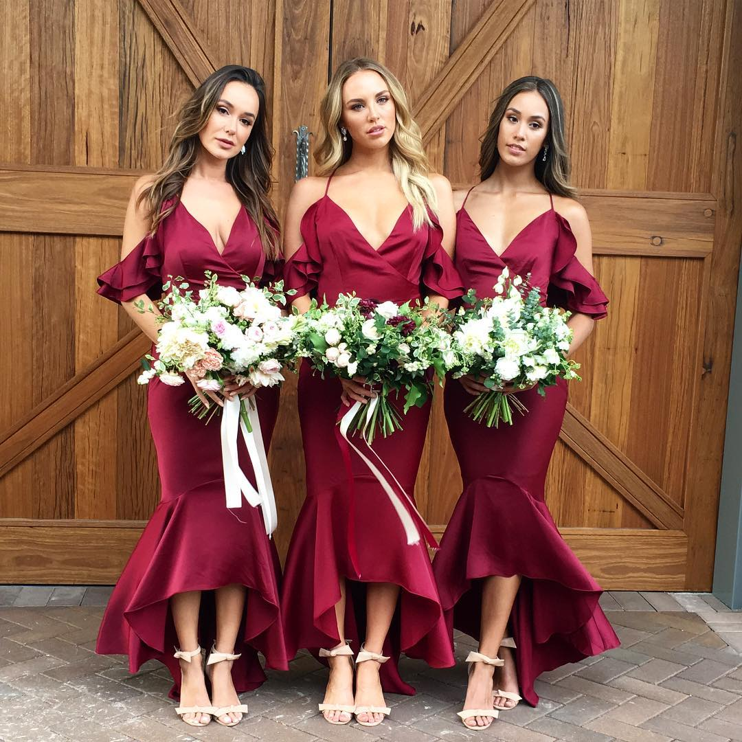 af5a826a80e Gorgeous Straps V Neck Wine Red Mermaid Long Bridesmaid Dress ...