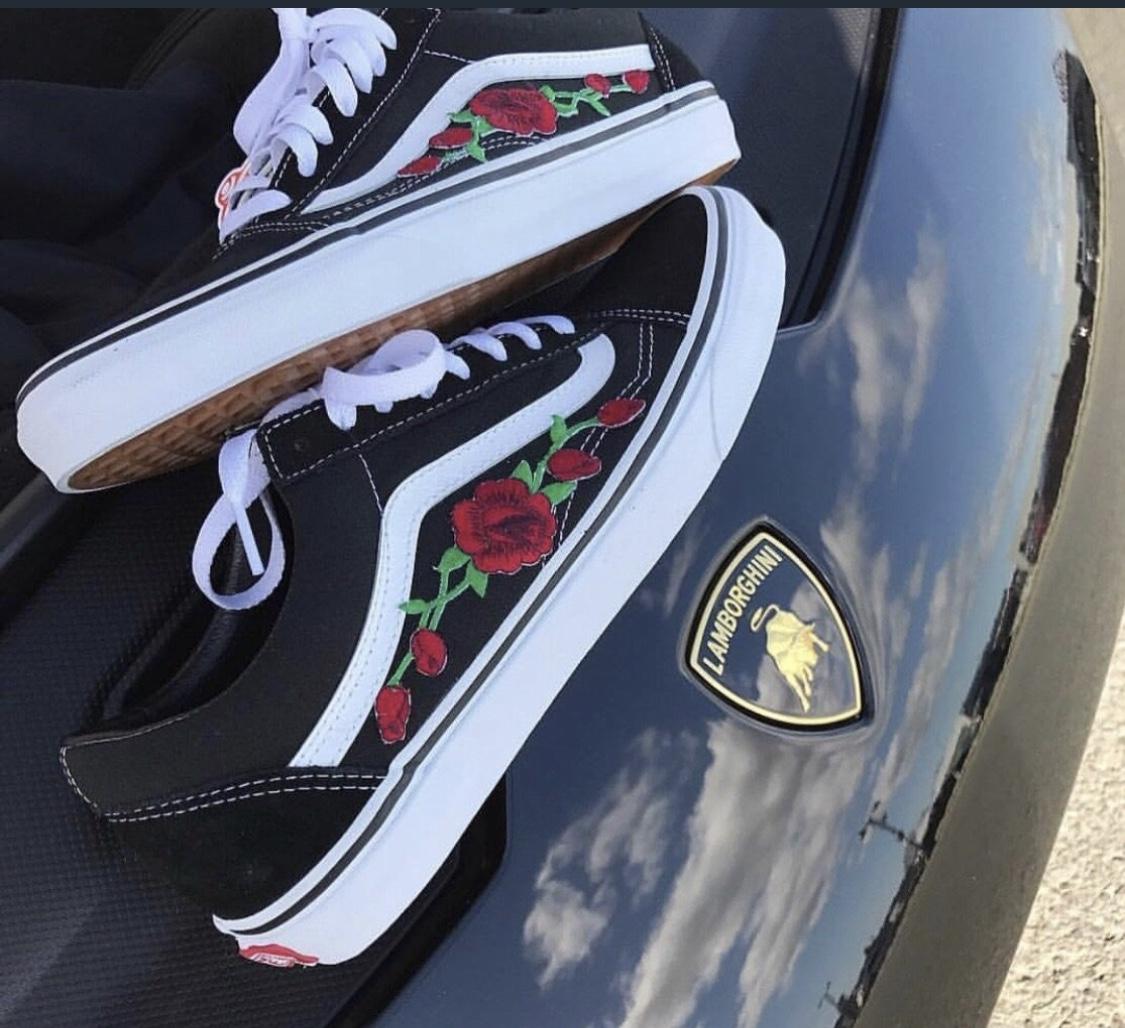 Custom Black Rose Vans on Storenvy 18b74d93a