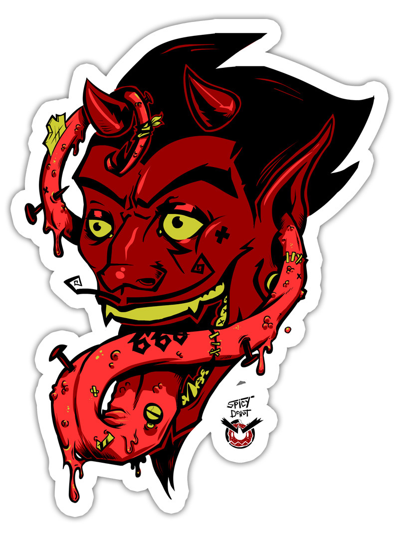The devils tongue sticker · spicy donut shop · online store powered by storenvy