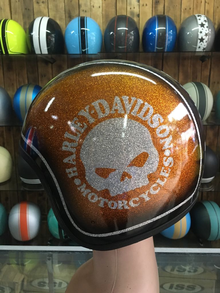 Custom Motorcycle Half Helmet With Harley Davidson Skull Airbrush