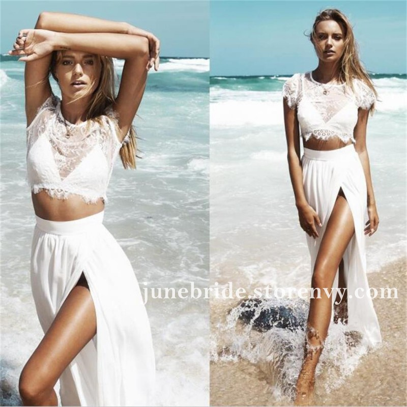 2019 Summer Beach Two Piece Wedding Dresses Sexy Side Split Beach Boho Wedding Dress A Line Long Bridal Gowns Sold By June Bride On Storenvy,Casual Wedding Dresses For Older Women