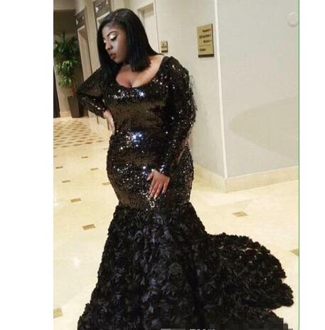 Custom Made Plus Size Black Prom Dresses 2019 New Long Sleeve Scoop Neck  Sweep Strain Formal Mermaid Evening Dress Party Gowns Custom Made from ...
