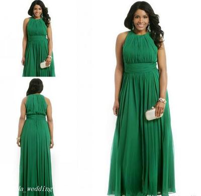 Green Plus Size Formal Evening Dress A Line Chiffon Long Special Occasion Dress Prom Party Gown