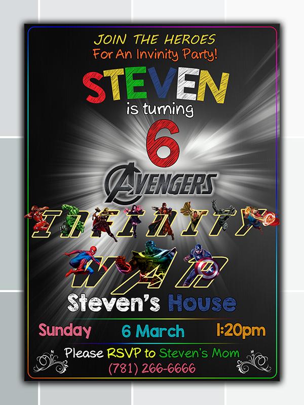 Avengers Birthday Party Invitation Printable On Storenvy