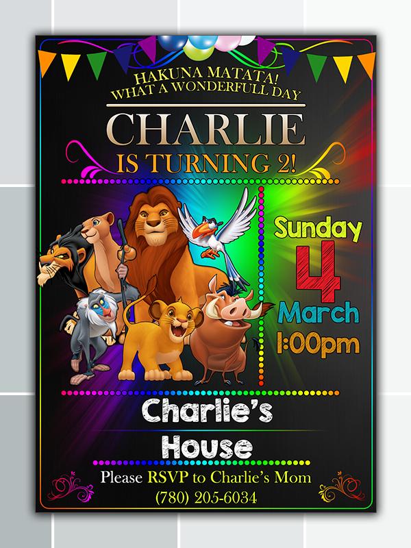 Lion King Birthday Party Invitation Printable On Storenvy