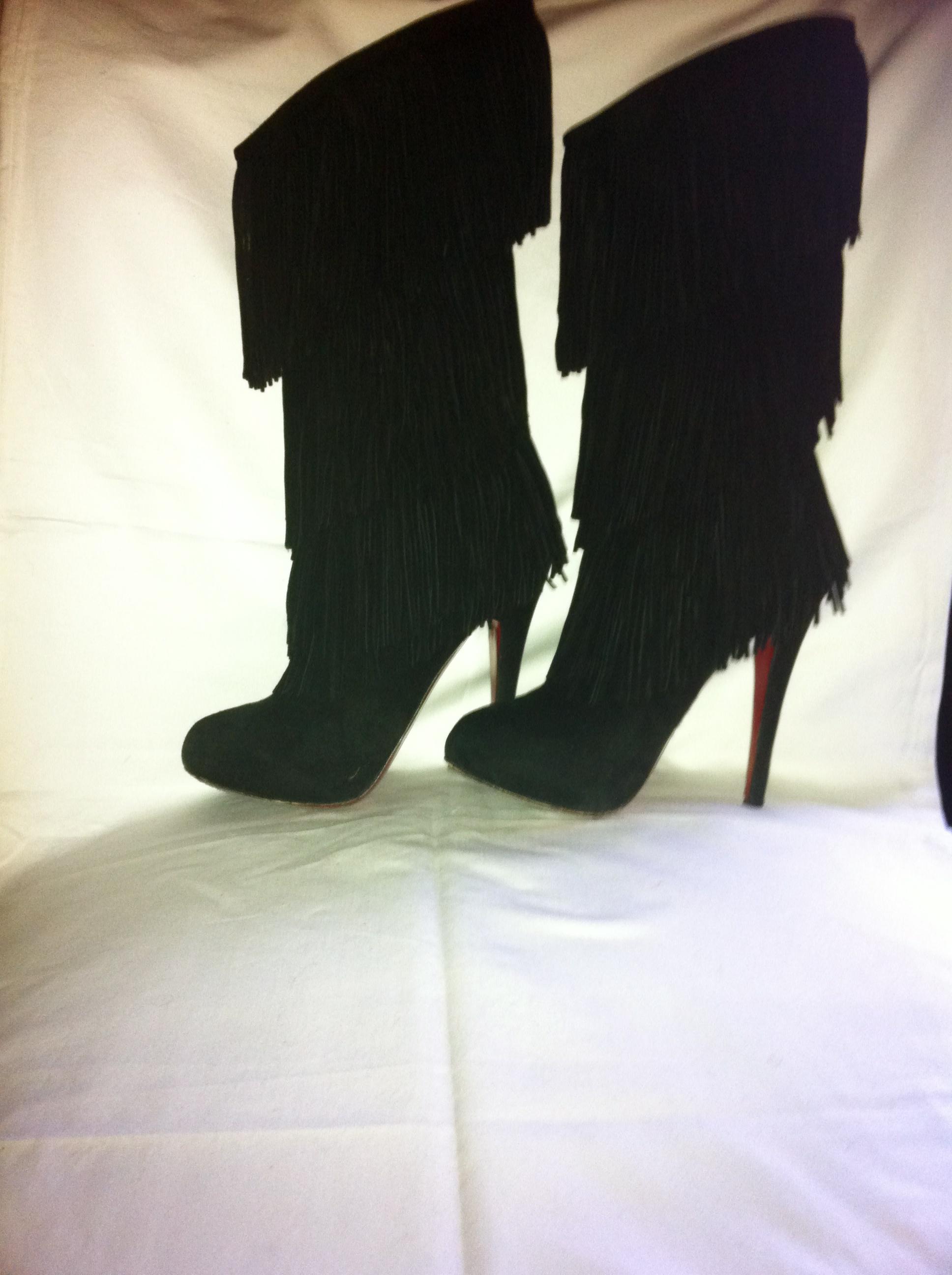 promo code 2cf42 12f1e CHRISTIAN LOUBOUTIN BLACK FRINGE SUEDE BOOT HEELS 36 1/2 from Shop Posh  Closet