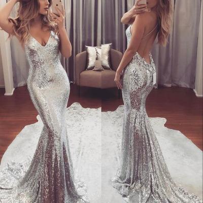 44cffa0a27f4 2018 sparkly sliver evening dress sequins mermaid v neck spaghetti straps long  prom dresses formal custom