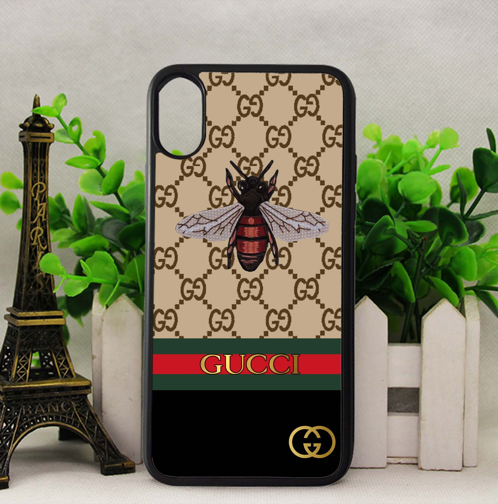 quality design 5ffd7 a11ef Gucci Bee Stripe Pattern Line Case for iPhone 5 5s SE 6 6s 7 8 Plus X  Samsung S7 S8 Note 8 Cover + from FushionShop
