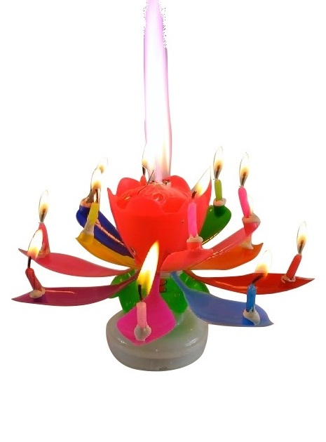Rainbow Lotus Flower P Birthday Exciting Candle R