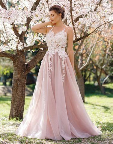 0186cfa277 Princess Pink Long Evening Dress V- Neck Lace Appliques Tulle Floor Length  Formal Summer Prom