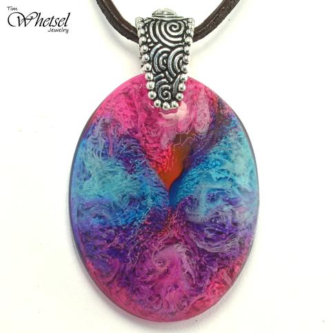 Resin Petri Art Pendant Oval Necklace Blue Pink