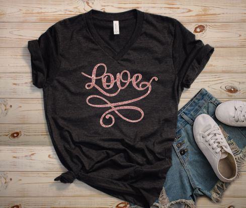 d86be3413 Love Graphic Tee - Plus Size - Black and Rose Gold · Plum Creek ...