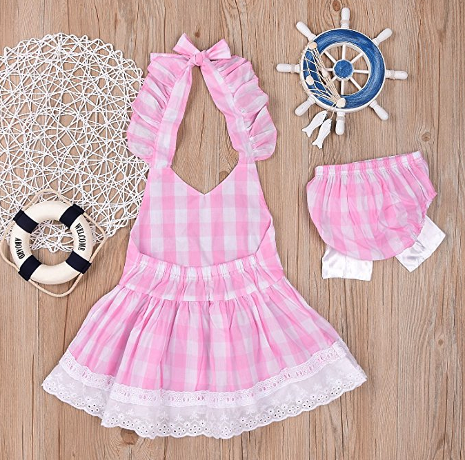 Baby Girls Sunsuit Outfit Stripe Backless Dress Brief Infant Clothes