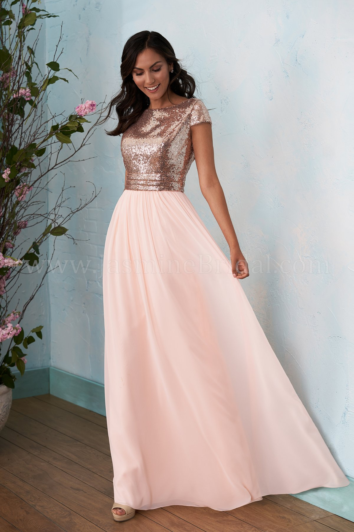 3c5e6650a7b Stunning A-line Rose Gold Long Bridesmaid Dress · modseleystore ...