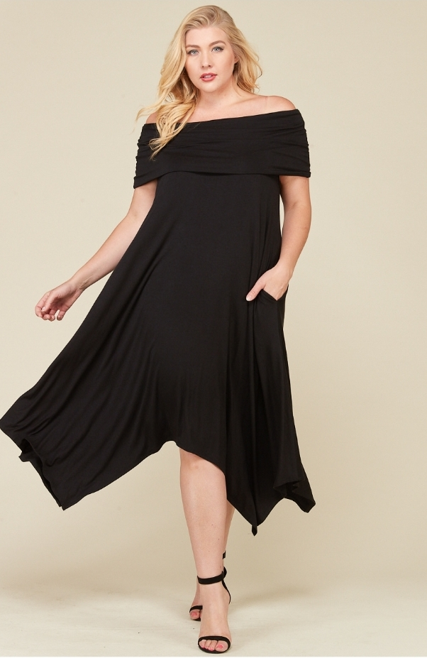 Off The Shoulder Handkerchief Dress- Plus size from Accessory Fix