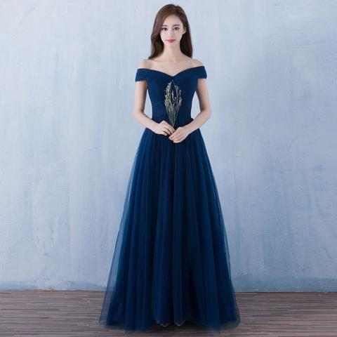 72eb4ea269b Dark blue tulle organza off-shoulder A-line long prom dresses ...