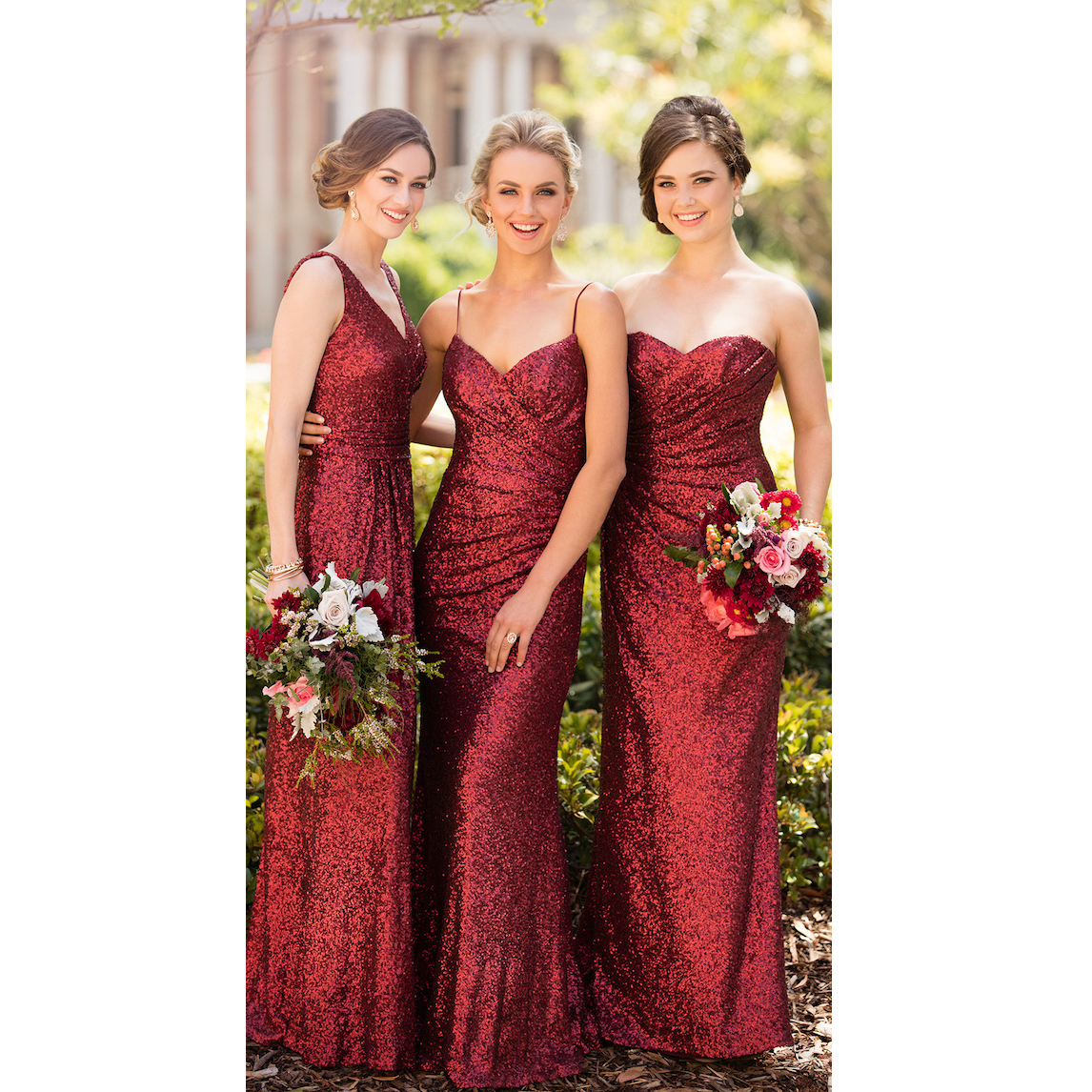 a347a7bd7cc9 Burgundy Bridesmaid Dress Long Sparkly Sexy Neck Design Optional Simple Party  Gowns Floor Length Wedding Guest