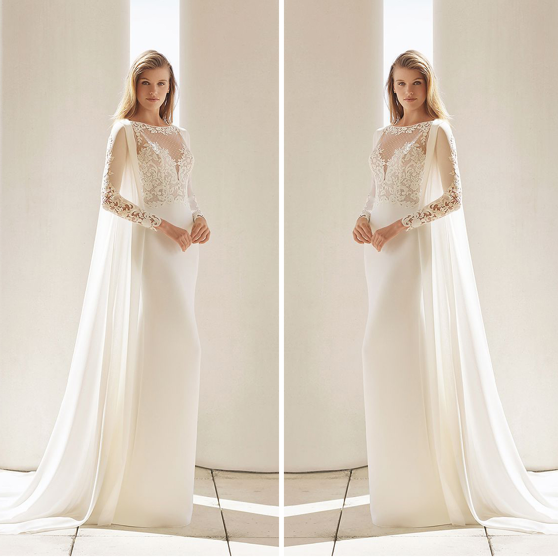 26700d2b31 Ivory Lace Satin Wedding Dress Long Sleeve Appliques Bateau Floor Length  Robe Handmade Summer Bridal Gown