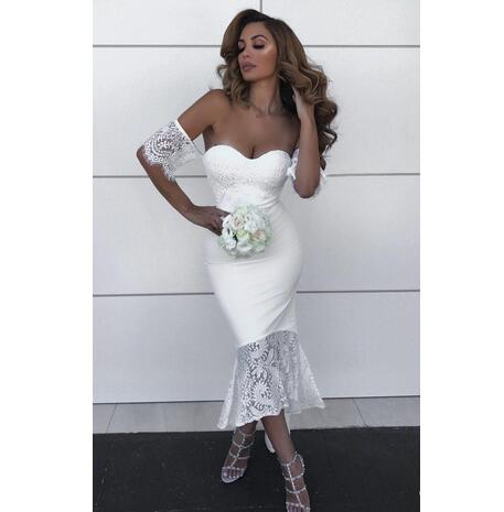 2018 White Lace Country Bridesmaids Dresses Mermaid Off The Shoulder Wedding Guest Dress With Short Sleeves High Low Maid Of Honor Gowns From Mrtang
