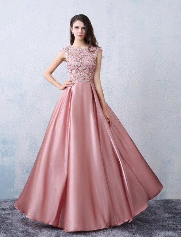 496b9ebbf7ea Chic A-line Scoop Pink Satin Applique Modest Prom Dress Evening Dress -  Thumbnail 1 ...