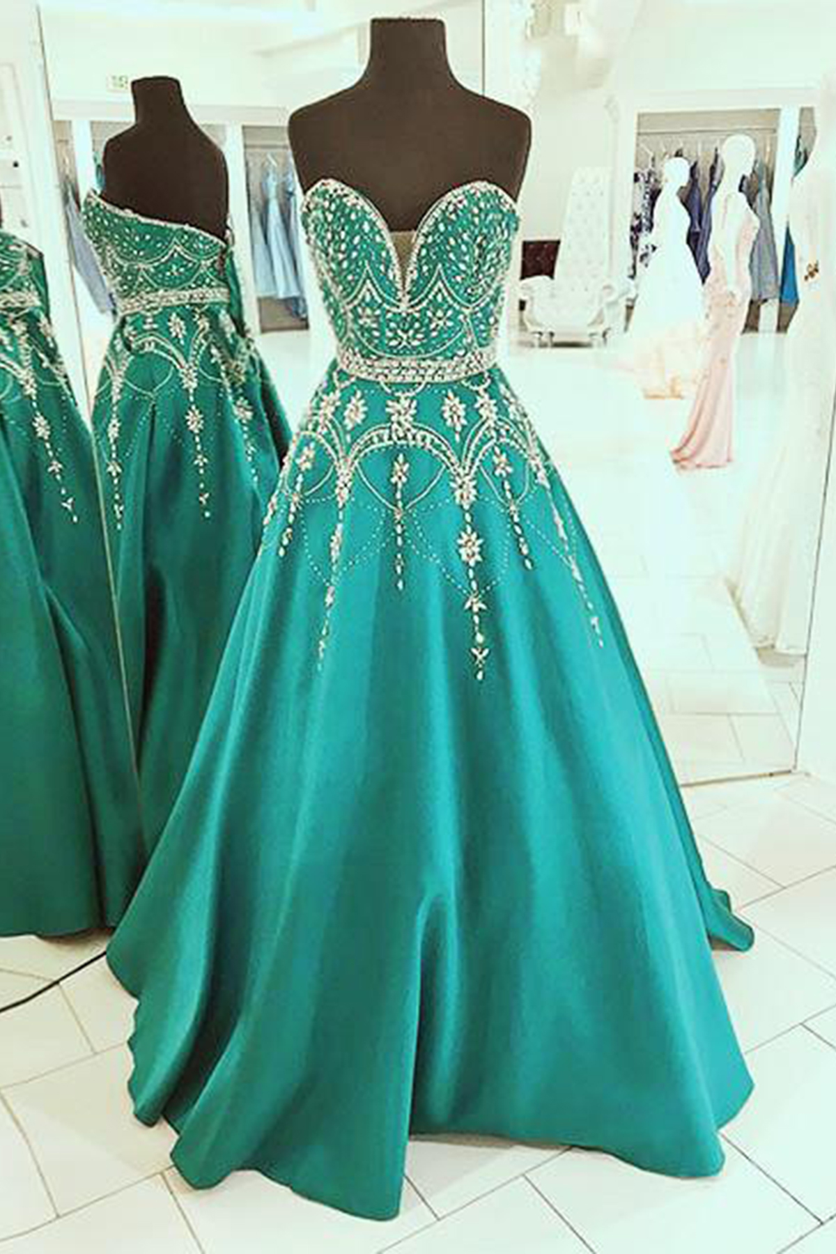 Green and Silver Evening Dresses