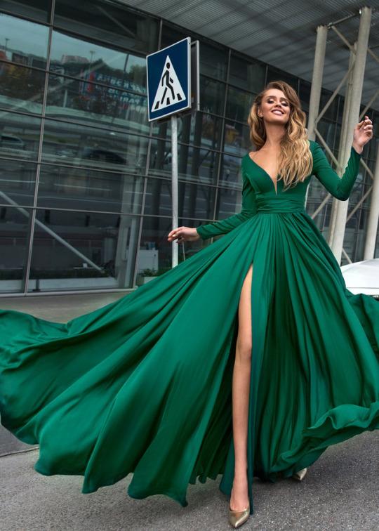 Gorgeous Green Prom Dresses Long Sleeve 2018 Satin Formal