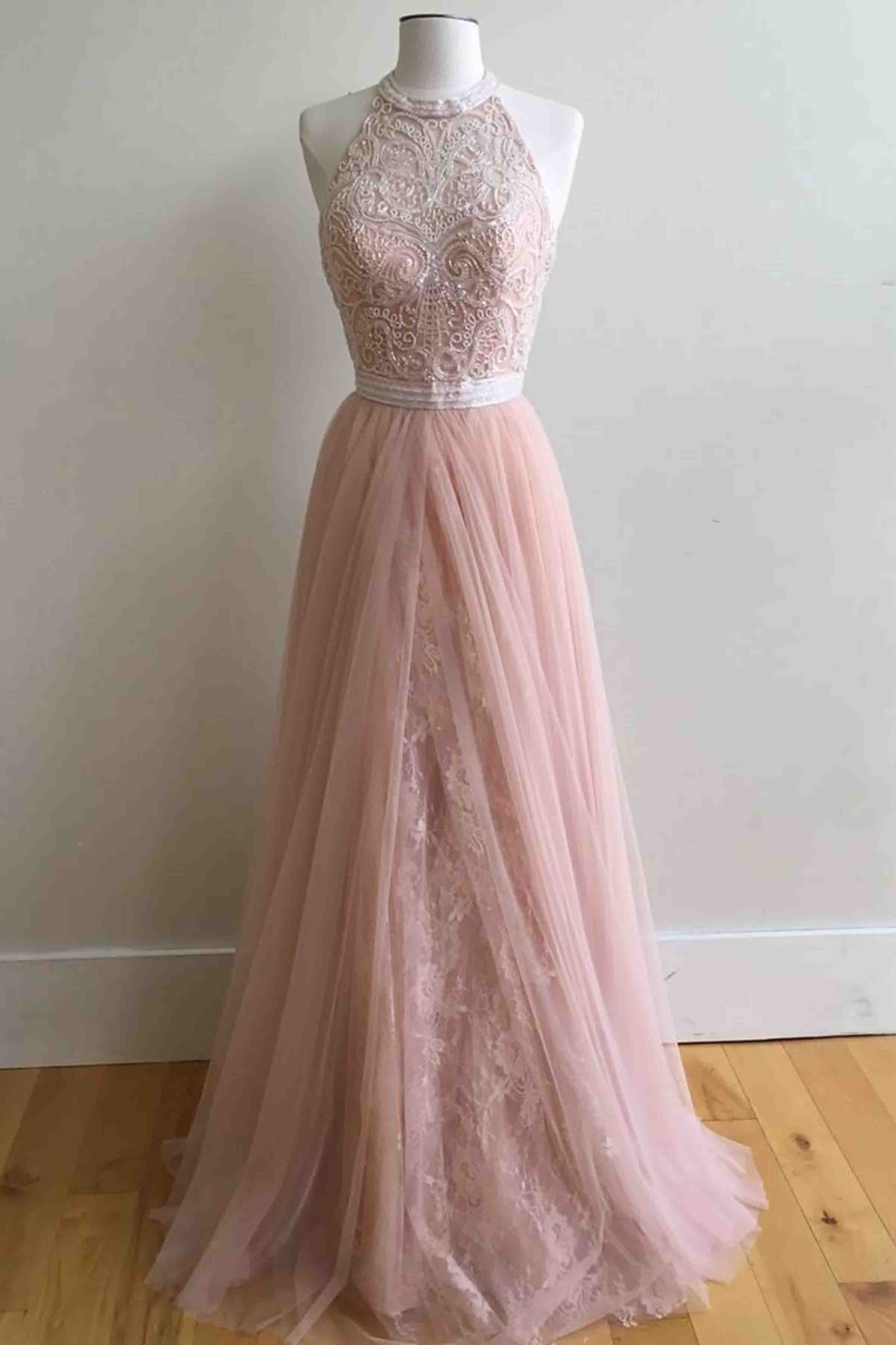 228ad00690b Pink tulle lace round neck A-line long prom dress