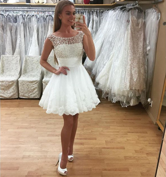 99a163d1e18 Gorgeous White Homecoming Dress Lace Scoop Neck Beaded Graduation Dress For 8th  Grade Formal Short Prom