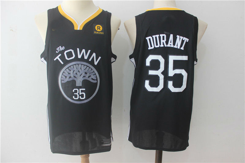 c06d3f7ab 2017-18 Golden State Warriors  35 Kevin Durant Jersey Black ...