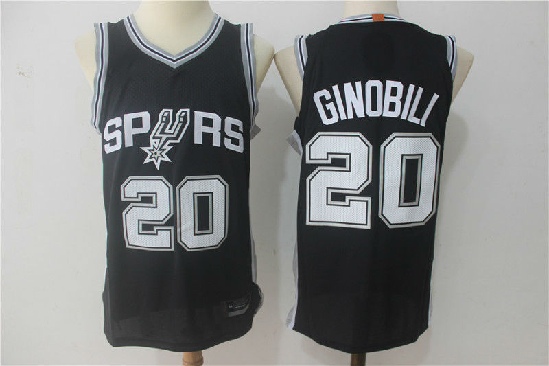 cheap for discount 39dab 6aed1 2017-18 San Antonio Spurs #20 Manu Ginobili Basketball Jersey Black from  teamjerseyinc
