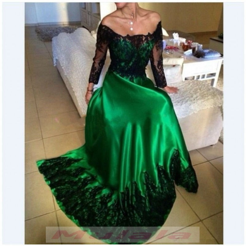 09b03f1ffba6 Green Off Shoulder Long Sleeve Prom Dresses 2018 Black Lace Appliques  Evening Dress Long Party Gowns
