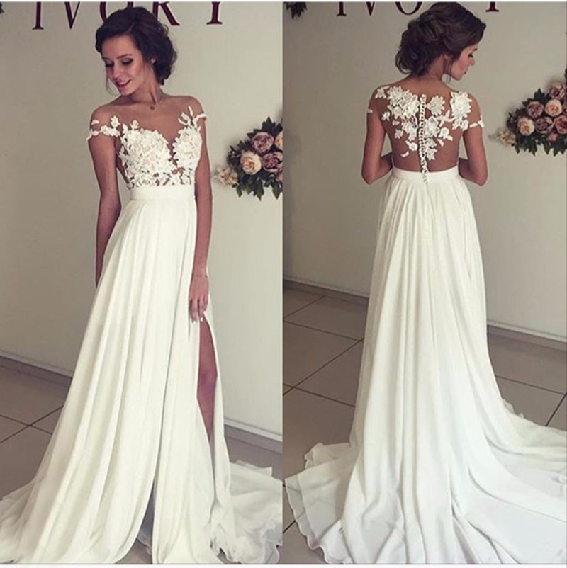 Summer Chiffon Wedding Dresses Lace Top Short Sleeves Side Slit Garden Elegant Bridal Gowns From Angeldress