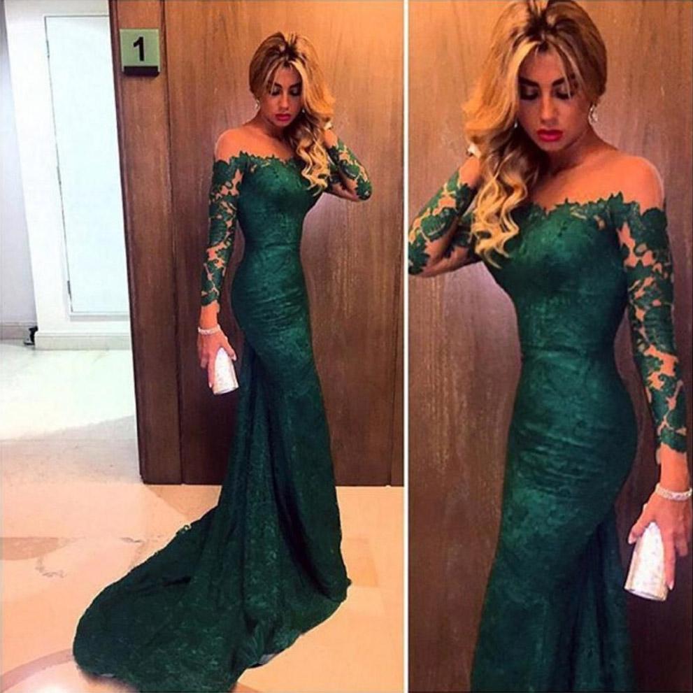 07e6ab5566f Emerald Green Lace Prom Dress