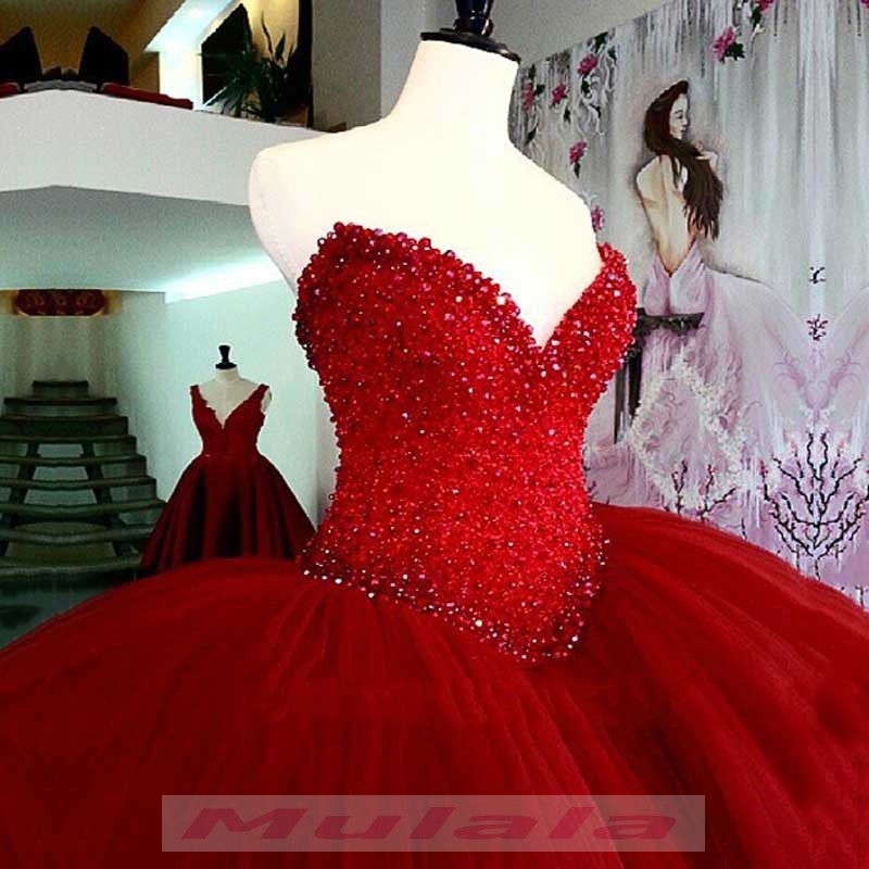 c4ef6aa9c7f Wine Red Ball Gown Quinceanera Dresses 2018 Luxury Beaded Crystals Tulle  Burgundy Princess Sweet 16 Dress