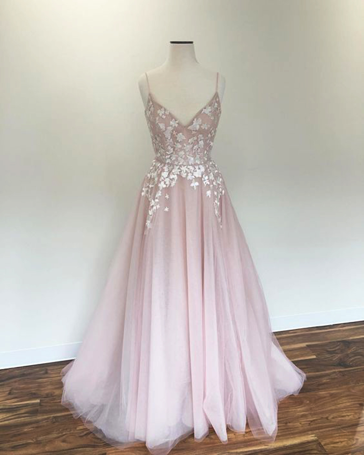 99704d726cd Blush pink tulle V neck spaghetti straps long prom dress with ...